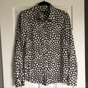 J. Crew | Hearts black & cream silk button downSz0